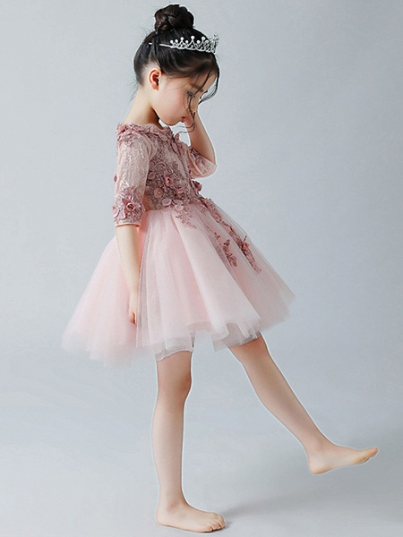 A-Line Ankle Length Christmas / Birthday Flower Girl Dresses - Tulle Half Sleeve Jewel Neck With Appliques_2