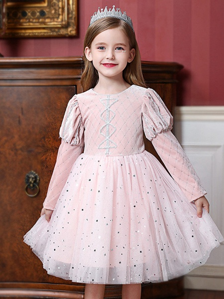 Princess / Ball Gown Knee Length Wedding / Party Flower Girl Dresses - Tulle Long Sleeve Jewel Neck With Paillette_1
