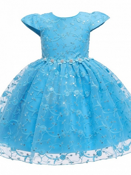 Princess / Ball Gown Knee Length Wedding / Party Flower Girl Dresses - Tulle Cap Sleeve Jewel Neck With Sash / Ribbon / Bow(S) / Embroidery_8