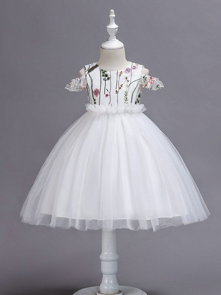 Princess / Ball Gown Knee Length Wedding / Party Flower Girl Dresses - Tulle Short Sleeve Jewel Neck With Bow(S) / Appliques_3