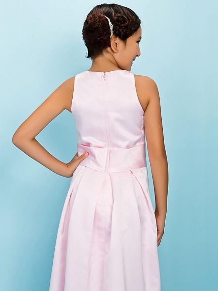 A-Line Jewel Neck Floor Length Satin Junior Bridesmaid Dress With Sash / Ribbon / Draping / Flower / Spring / Fall / Winter / Apple / Hourglass_6