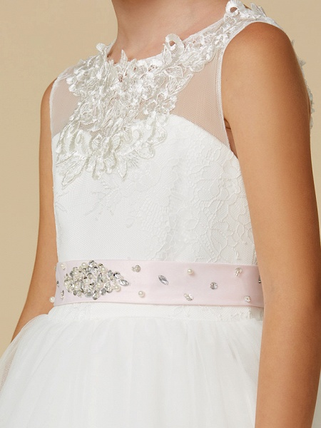 Princess Sweep / Brush Train Wedding / First Communion Flower Girl Dresses - Lace / Tulle Sleeveless Jewel Neck With Belt / Beading / Appliques_5