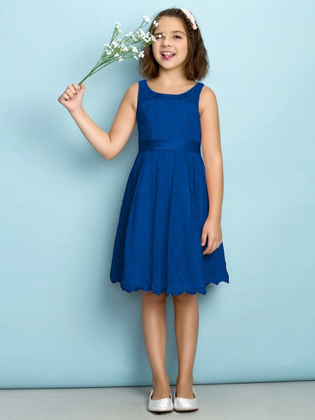 A-Line Scoop Neck Knee Length All Over Floral Lace Junior Bridesmaid Dress With Lace / Natural / Mini Me_33