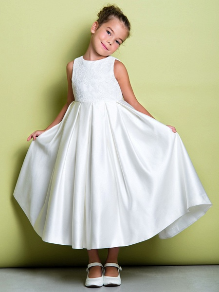 A-Line Ankle Length Wedding / First Communion Flower Girl Dresses - Lace / Satin Sleeveless Jewel Neck With Lace_1