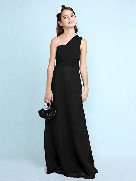 Sheath / Column One Shoulder Floor Length Chiffon Junior Bridesmaid Dress With Side Draping / Natural_42