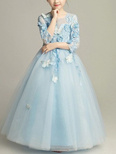 Ball Gown Floor Length Pageant Flower Girl Dresses - Tulle 3/4 Length Sleeve Jewel Neck With Beading / Appliques