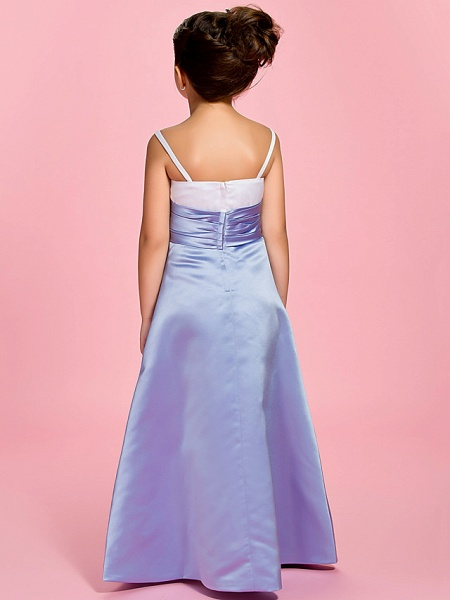 Princess / A-Line Ankle Length First Communion / Wedding Party Satin Straps With Ruched / Spring / Summer / Fall_4