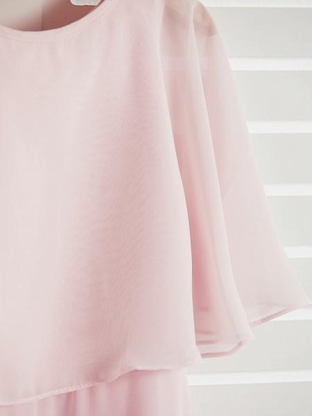 A-Line Jewel Neck Maxi Chiffon Junior Bridesmaid Dress With Ruffles_6