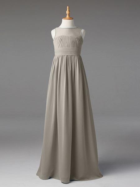 Princess / A-Line Jewel Neck Floor Length Chiffon Junior Bridesmaid Dress With Sash / Ribbon / Pleats_8