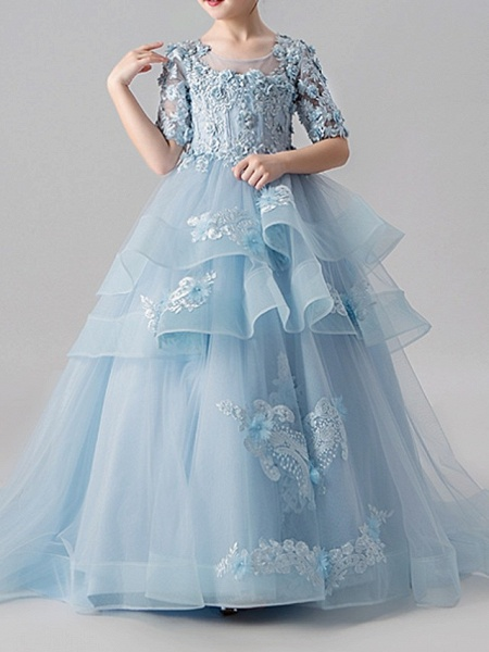 Ball Gown Sweep / Brush Train Pageant Flower Girl Dresses - Polyester Half Sleeve Jewel Neck With Appliques / Tiered_3
