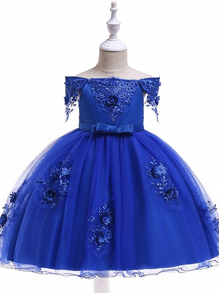 Princess Above Knee Wedding / Party / Pageant Flower Girl Dresses - Satin / Tulle Short Sleeve Off Shoulder With Lace / Beading / Appliques_16