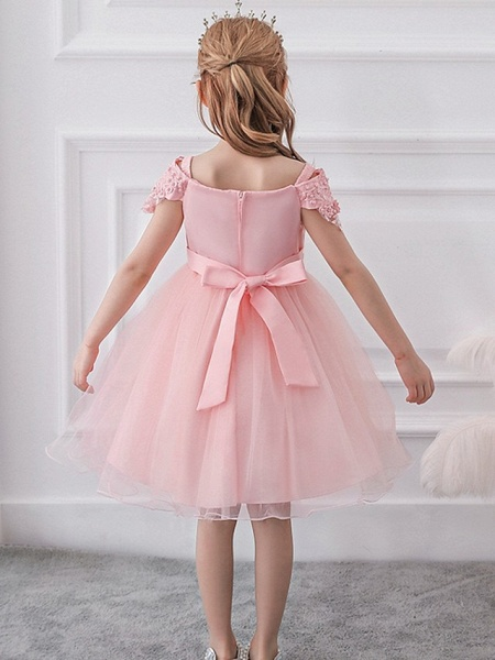 Princess / Ball Gown Knee Length Wedding / Party Flower Girl Dresses - Satin / Tulle Short Sleeve Off Shoulder With Sash / Ribbon / Bow(S) / Appliques_6