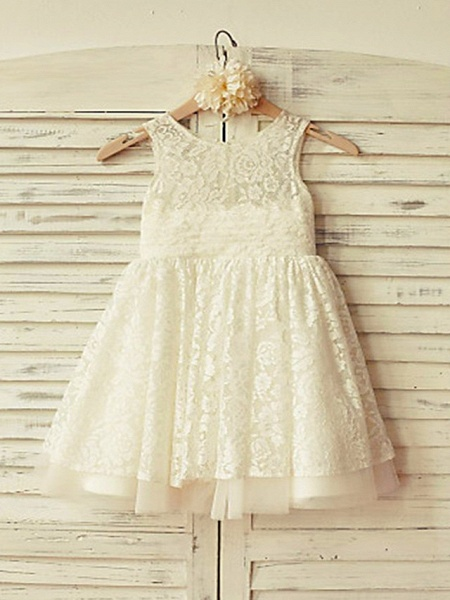 Ball Gown Short / Mini Wedding / Party Flower Girl Dresses - Lace Sleeveless Jewel Neck With Appliques / Solid_1