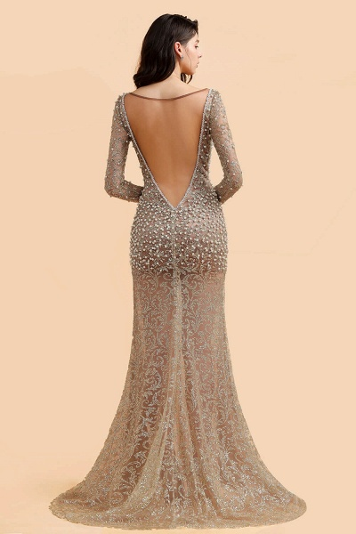Illusion Neck Beads Champange Pearls High Split Prom Dress_3
