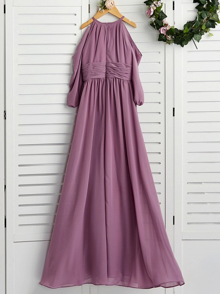 A-Line Crew Neck Floor Length Chiffon Junior Bridesmaid Dress With Ruching / Wedding Party_2