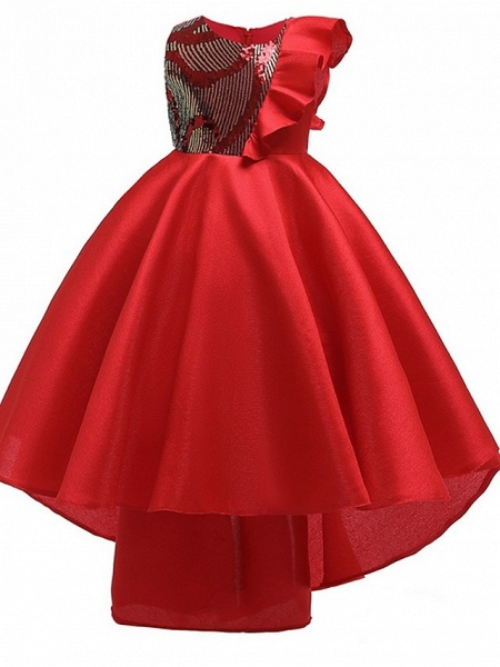 A-Line Round Asymmetrical Cotton Junior Bridesmaid Dress With Bow(S) / Ruffles_1