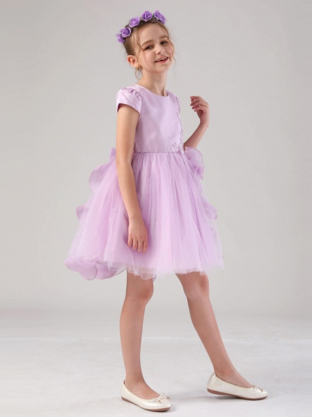 Princess / Ball Gown Medium Length Wedding / Event / Party Flower Girl Dresses - Satin / Tulle Cap Sleeve Jewel Neck With Embroidery / Appliques / Side Draping_6