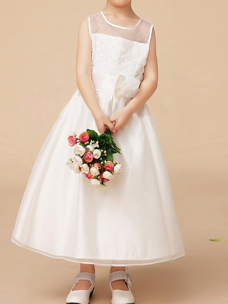 A-Line Ankle Length First Communion Flower Girl Dresses - Polyester Sleeveless Jewel Neck With Bow(S)_3