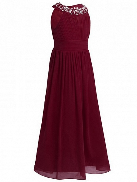 A-Line Round Floor Length Chiffon / Sequined Junior Bridesmaid Dress With Beading / Ruching_2
