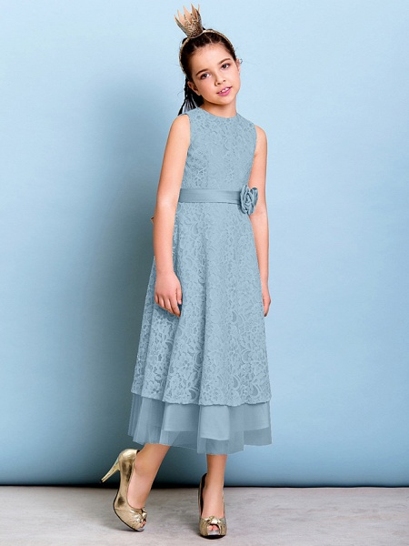 A-Line Jewel Neck Tea Length All Over Floral Lace Junior Bridesmaid Dress With Sash / Ribbon / Bow(S) / Flower / Natural_31