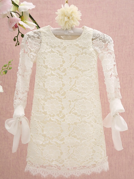 Sheath / Column Knee Length Holiday Flower Girl Dresses - Lace Long Sleeve Jewel Neck With Lace_1