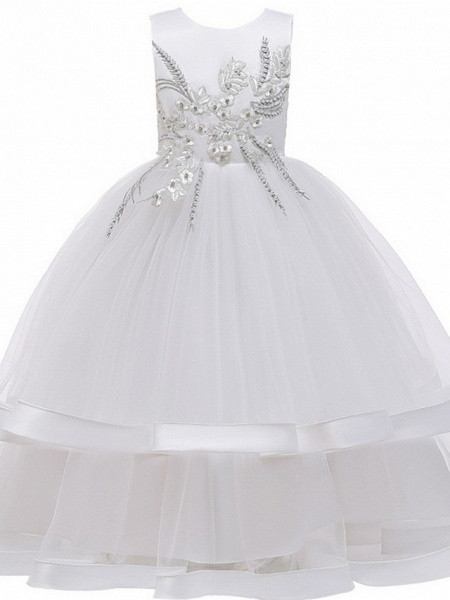 Princess / Ball Gown Floor Length Wedding / Party Flower Girl Dresses - Tulle Sleeveless Jewel Neck With Bow(S) / Appliques / Cascading Ruffles_8