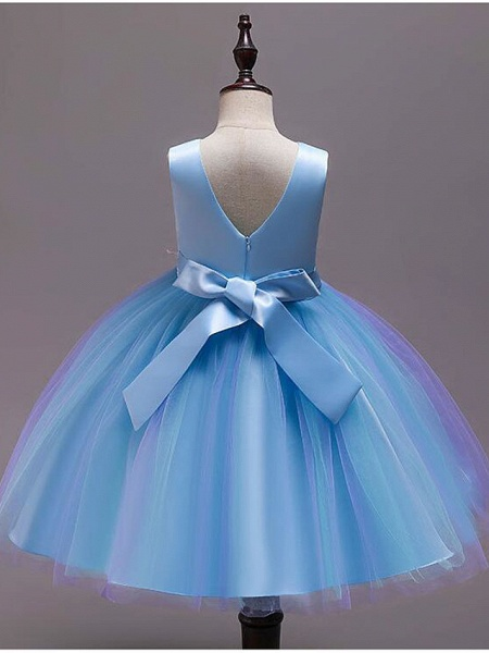 Princess Knee Length Wedding / Party / Pageant Flower Girl Dresses - Satin / Tulle / Cotton Sleeveless Jewel Neck With Belt / Embroidery / Appliques_10