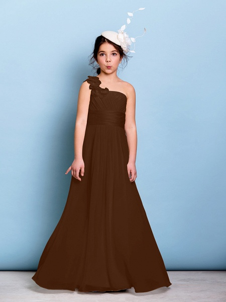A-Line One Shoulder Floor Length Chiffon Junior Bridesmaid Dress With Sash / Ribbon / Criss Cross / Ruched / Natural_22