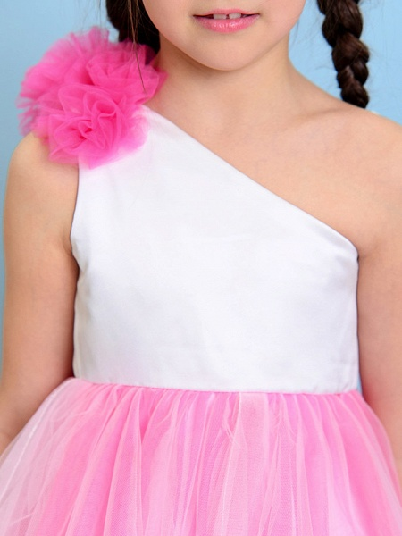 Ball Gown One Shoulder Tea Length Tulle Junior Bridesmaid Dress With Flower / Natural_7