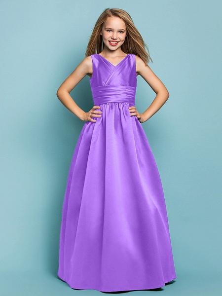 Princess / A-Line V Neck Floor Length Satin Junior Bridesmaid Dress With Sash / Ribbon / Criss Cross / Spring / Summer / Fall / Apple / Hourglass_29