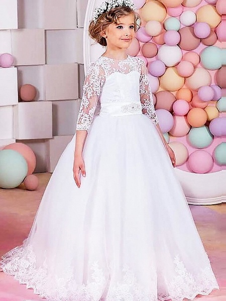 Princess / Ball Gown Floor Length Wedding / Party Flower Girl Dresses - Lace / Tulle Half Sleeve Jewel Neck With Sash / Ribbon / Bow(S) / Solid_1