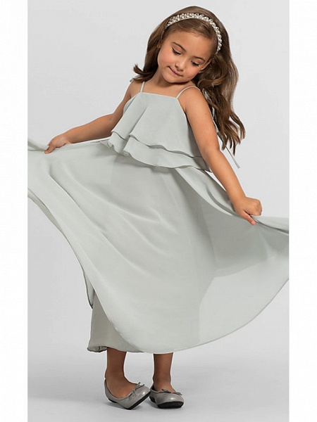 A-Line Floor Length Wedding / Party Flower Girl Dresses - Chiffon Sleeveless Spaghetti Strap With Tier / Solid