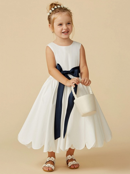 A-Line Tea Length Wedding / First Communion Flower Girl Dresses - Taffeta Sleeveless Jewel Neck With Sash / Ribbon / Pleats_1