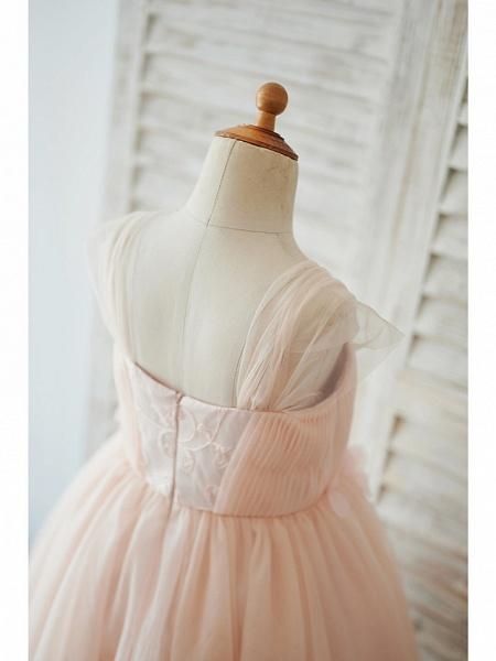 Ball Gown Knee Length Wedding / Birthday Flower Girl Dresses - Tulle Cap Sleeve Sweetheart Neckline With Petal / Pearls_4