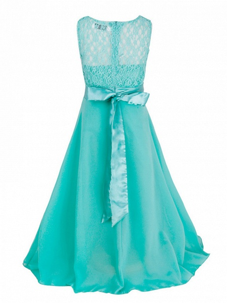 Princess / Ball Gown Maxi Party / Formal Evening / Pageant Flower Girl Dresses - Tulle / Poly&Cotton Blend Sleeveless Jewel Neck With Lace / Solid_18