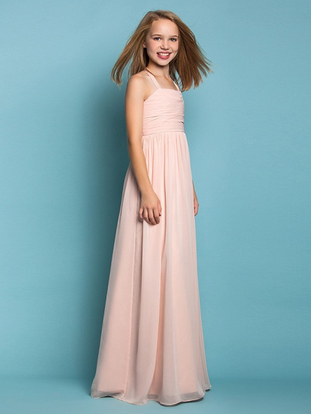 Sheath / Column Halter Neck Floor Length Chiffon Junior Bridesmaid Dress With Ruched / Spring / Summer / Fall / Apple / Hourglass_2