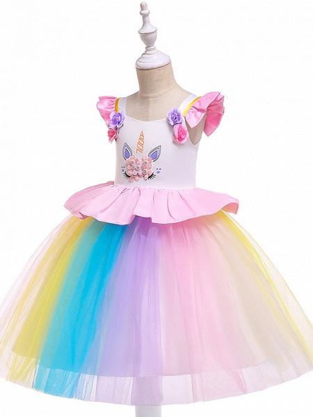 Princess Midi Party / Birthday / Pageant Flower Girl Dresses - Tulle Sleeveless Jewel Neck With Petal / Ruffles / Pattern / Print_5