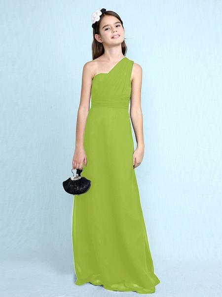 Sheath / Column One Shoulder Floor Length Chiffon Junior Bridesmaid Dress With Side Draping / Natural_31