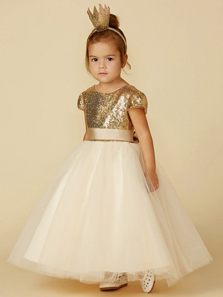 Princess Floor Length Wedding / Party / Pageant Flower Girl Dresses - Tulle / Sequined Short Sleeve Jewel Neck With Sash / Ribbon / Sequin_3