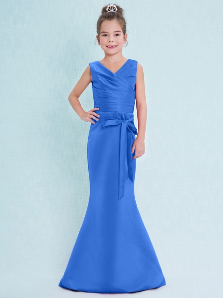Mermaid / Trumpet V Neck Floor Length Satin Junior Bridesmaid Dress With Criss Cross / Natural_34