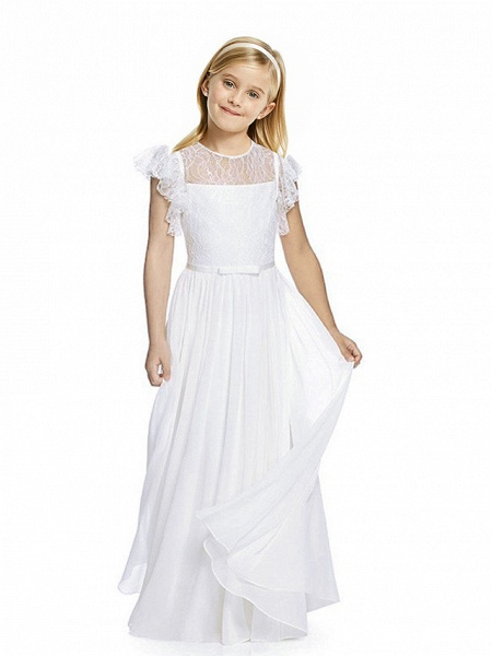Sheath / Column Long Length Party / Birthday / First Communion Flower Girl Dresses - Chiffon / Lace Short Sleeve Jewel Neck With Lace / Butterfly_1