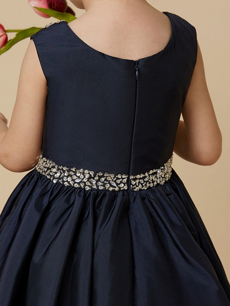 A-Line Knee Length Pageant Flower Girl Dresses - Taffeta Sleeveless Jewel Neck With Beading / Crystal Brooch_7