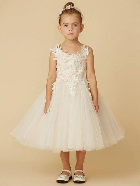 Princess Knee Length Wedding / First Communion Flower Girl Dresses - Lace / Tulle Sleeveless Spaghetti Strap With Crystal / Lace / Sashes / Ribbons_4