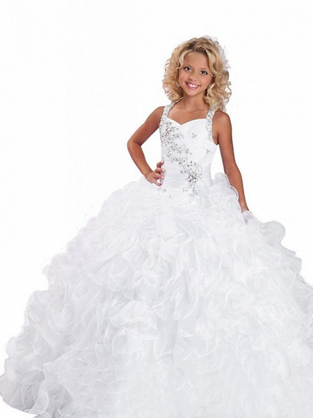 Ball Gown Floor Length Wedding / Party Flower Girl Dresses - Organza Sleeveless Jewel Neck With Tier / Solid_1