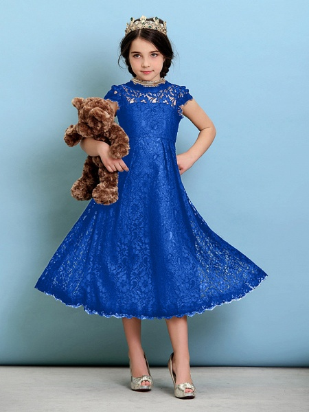 Princess / A-Line Jewel Neck Tea Length Lace Junior Bridesmaid Dress With Pleats / Natural_34
