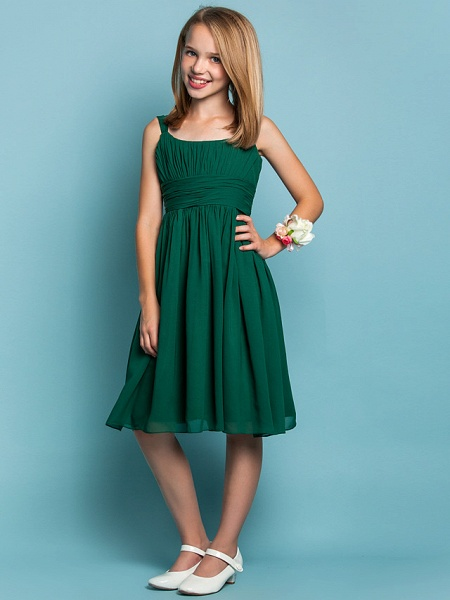Sheath / Column Straps Knee Length Chiffon Junior Bridesmaid Dress With Ruched / Draping / Spring / Summer / Fall / Apple / Hourglass_3