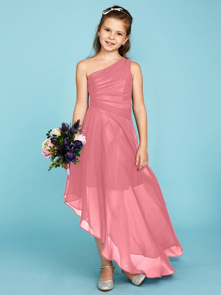 A-Line One Shoulder Asymmetrical Chiffon Junior Bridesmaid Dress With Side Draping / Wedding Party_20