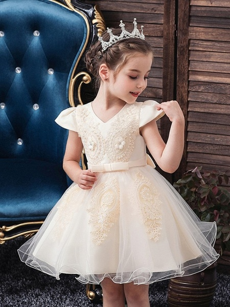 Princess / Ball Gown Knee Length Wedding / Party Flower Girl Dresses - Tulle Short Sleeve V Neck With Sash / Ribbon / Bow(S) / Appliques_2