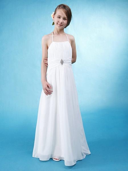Princess / A-Line Halter Neck Floor Length Chiffon / Satin Junior Bridesmaid Dress With Sash / Ribbon / Ruched / Draping / Spring / Summer / Fall / Wedding Party / Natural_1