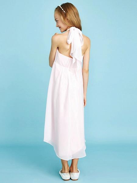 Sheath / Column Halter Neck Asymmetrical Chiffon Junior Bridesmaid Dress With Bow(S) / Beading / Natural_2